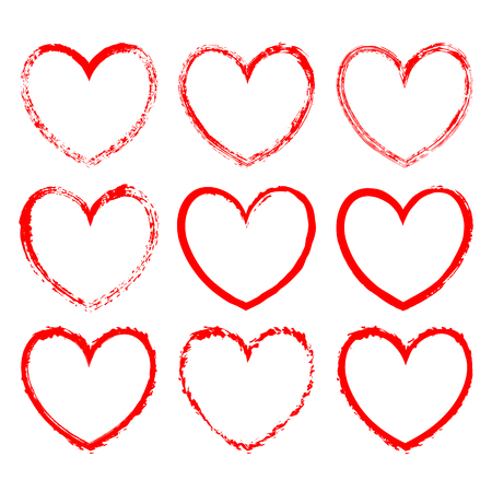 Set of vector heart-shaped frames drawn in red ink on a white background. Romantic frames with jagged grunge edges and inky texture for valentine day design, decorations for greeting, wedding cards
