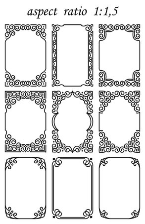 Set of vector rectangular frames in oriental linear style isolated on white background. Luxury ornament for design, birthday decoration, greeting card, banner, certificate in traditional Eastern decor