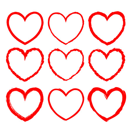 Set of vector heart-shaped frames drawn in red ink on a white background. Romantic frames with rough grunge edges and inky texture for valentine day design, decorations for greeting, wedding cards Illustration