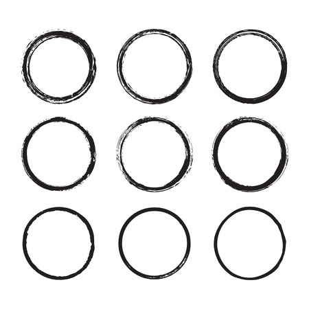 Vector set of round frames and borders, painted with an ink brush. Black grunge frame with rough edges isolated on white background. A collection of circles dirty messy silhouettes