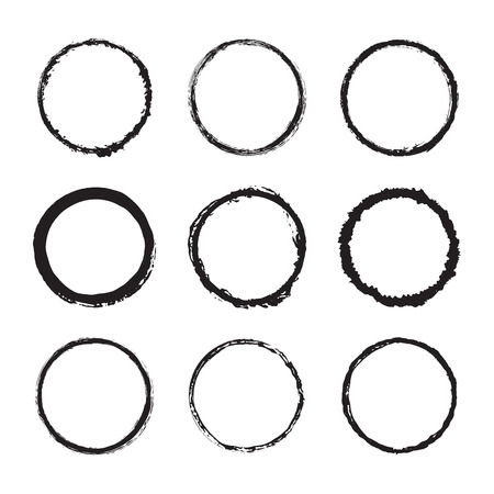Vector set of round frames and borders, painted with an ink brush. Black grunge frame with rough edges isolated on white background. A group of circles dirty messy silhouettes. Ink texture design 일러스트