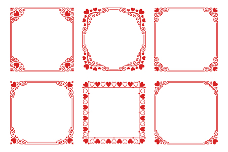 Vector set of red square frames with hearts, flourishes, curls in vintage art deco style. Elegant ornament for decoration, design of wedding invitation, love romantic greeting card for Valentines Day 일러스트