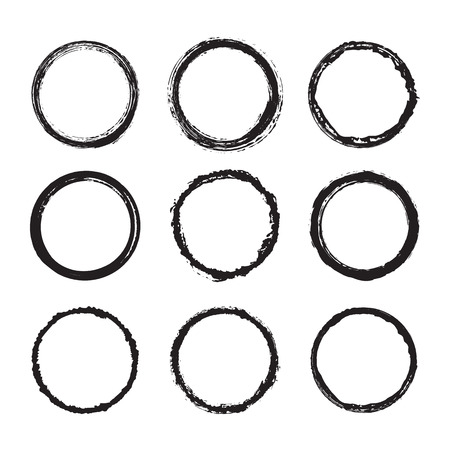 Vector set of round frames and borders, painted with an ink brush. Black grunge frame with rough edges isolated on white background. A group of circles dirty damaged silhouettes. Ink texture design 일러스트