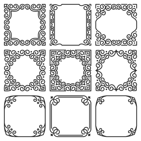 Vector collection of square frames in oriental style for arabic and indian motifs. Luxurious modern and traditional eastern linear ornament to decorate greeting cards, gift boxes, book, text, textiles