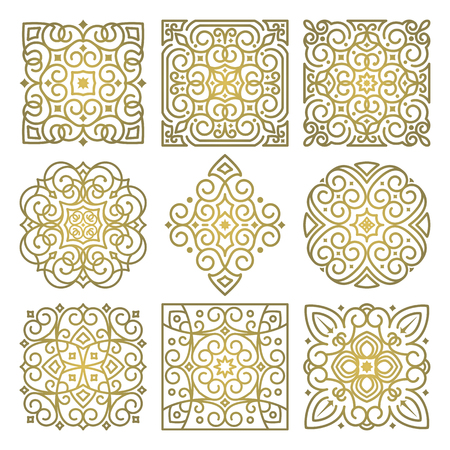 Vector set of square art oriental ornamental elements in linear style. Templates for decoration and design of textiles, text, books, covers, invitation cards. Luxury gold pattern on white background