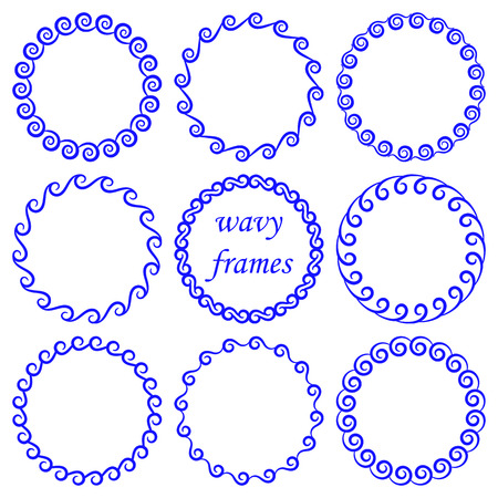 Vector set of round wavy blue frames in nautical style isolated on white background. Group of circles from abstract waves for design, decoration of banners, invitations, greeting cards in marine style
