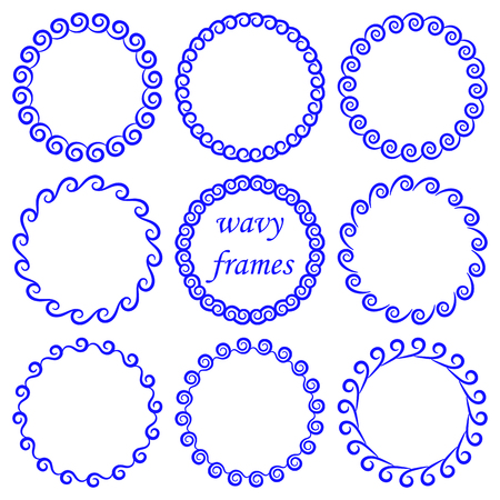 Vector set of round wavy blue frames in nautical style isolated on white background. Collection of decorative circles from the waves to decorate banners, invitations, greeting cards in marine style