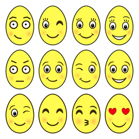 Vector emoji collection in shape of yellow Easter eggs isolated on white background. A set of funny good character emoticons for decorating banners, flyers, stickers in a cute cartoon flat style 일러스트