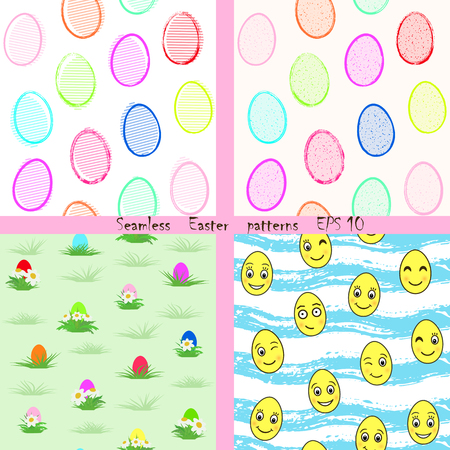 Vector set of cute modern seamless patterns in easter motifs. Multicolored bright cartoon style with painted elements for printing on paper, textiles, decoration of cards, wrappers, childrens clothes
