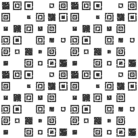 Vector seamless black-white simple background in modern flat geometric style. A repeating pattern of simple geometric shapes, squares with a grunge uneven rough texture. For printing on paper, textile