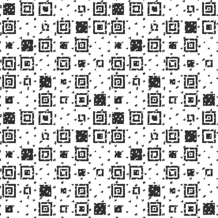 Vector seamless black-white simple background in modern flat geometric style. A repeating pattern of simple geometric shape, square with a uneven rough texture. Template for printing on paper, textile