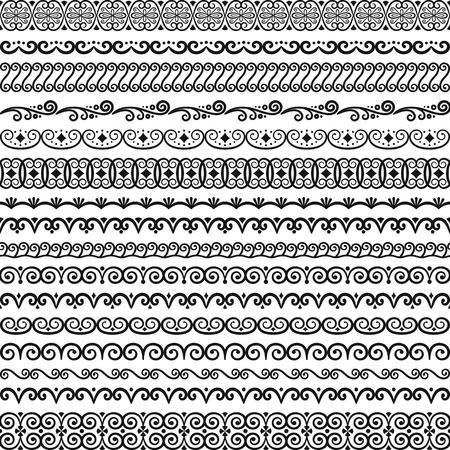 Vector collection of vintage endless seamless brushes for frames, borders, braid, decoration, design of textiles, tableware, greeting card, wedding invitation. Elegant classic patterns with flourishes