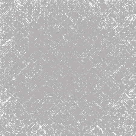 Vector textured square scratched gray-white grunge abstract background. Imitation of a wall with unevenly scratched plaster