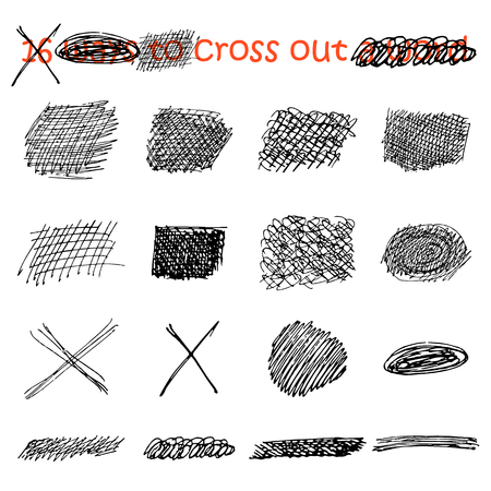 Vector set of black intersecting lines drawn by hand in ink. Abstract narrow, wide, rectangular, round, square patterns for strikethrough text isolated on white background. 16 ways to cross out a word 일러스트