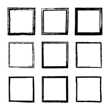 Set of vector square frames and borders drawn by black ink brushes isolated on a white background. A collection of frames with rough grunge edges. Dirty distressed uneven silhouettes Illustration