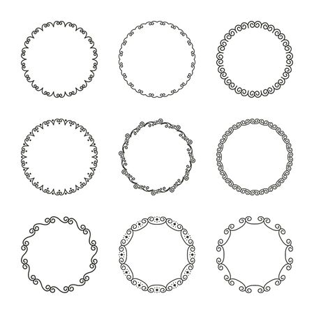 Vector set of simple round narrow frames with flourishes and curls in vintage style. Simple elegant ornament for decoration and design of labels, covers, invitation cards, text, books 일러스트