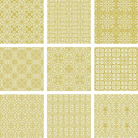 Vector collection of gold seamless patterns from lines in oriental style. Modern and classic abstract floral ornament for the decoration and design of textiles, wallpaper. Samples in swatches palette