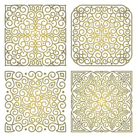 Vector set of square art oriental ornamental elements in linear style. For decoration and design of textiles, text, books, covers and invitation cards. Luxury gold pattern on white background 일러스트