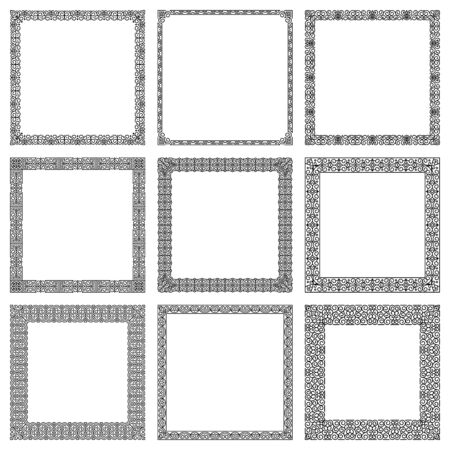 Set of vector square frames in traditional East style. Classic and modern oriental ornament for design, decoration of book page, menu, poster, invitation card, banner, flyer, brochure, print on paper