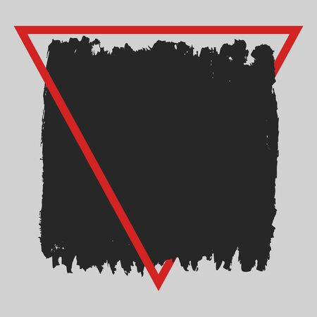 Vector square grunge black painted blot in red triangular frame with place for text. Ink stain with uneven rough edges. Lettering, text, quotes design element. For print on t-shirts