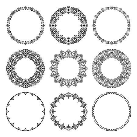 Vector set of round contour narrow and wide frames in abstract oriental motifs. Traditional elegant floral eastern ornament to decorate and design greeting cards, certificates, wedding invitations