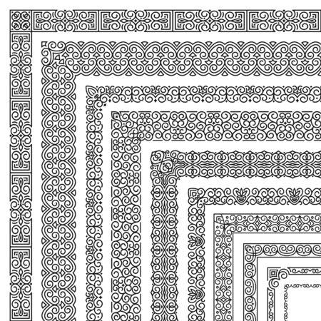 Conjunto de vector de pinceles de esquina en estilo lineal oriental moderno y clásico para la decoración y diseño de marcos, bordes, cintas, divisor. Patrones florales de línea mono para invitación, tarjeta, papel tapiz