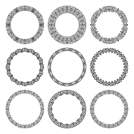 Vector set of round linear narrow and wide frames in abstract oriental motifs. Traditional elegant floral eastern ornament to decorate and design greeting cards, certificates, wedding invitations