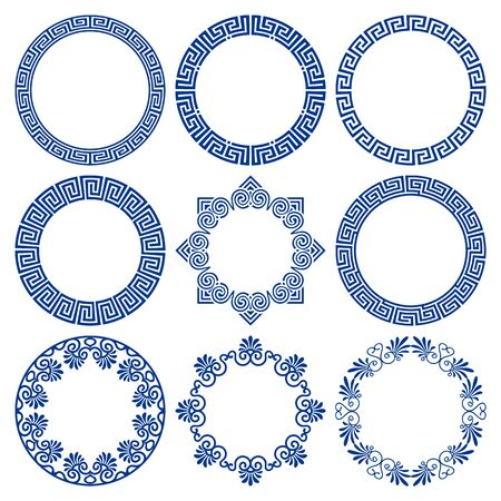 Vector set of round blue frames in traditional and modern Hellenic style isolated on white background. Circle borders with greek meander pattern. For design and decoration of plates, cards, banners