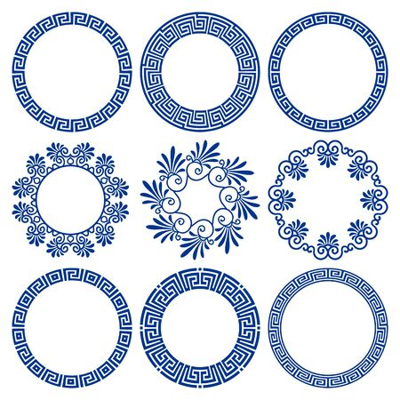 Vector set of round blue frames in traditional and modern Hellenic style isolated on white background. Circle borders with greek meander pattern. For design of plates, cards, banners, print on paper