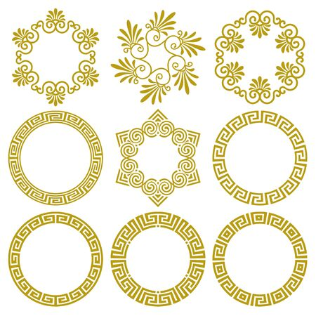 Vector set of round gold frames in traditional and modern Greek style isolated on white background. Circle boarder with greek meander pattern and floral motifs. For design, decoration of plates, cards
