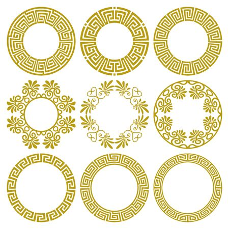 Vector set of round gold frames in traditional and modern Greek style isolated on white background. Circle border with greek meander pattern, floral motifs. For design of plates, cards, print on paper