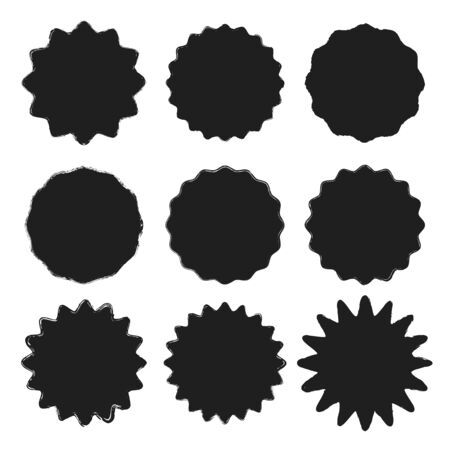 Set of vector black wavy grunge stickers with uneven rough edges isolated on white background. Blank circle templates with place for text for the design of banners, flyers, brochures, websites, cards
