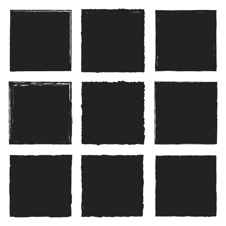 Set of vector square grunge plain black stickers isolated on white background. A group of empty labels with uneven rough edges drawn with an ink brush. For printing on paper, banner design, brochure