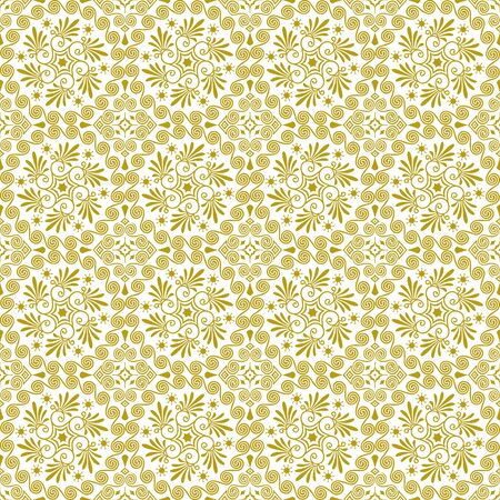 Vector seamless repeating background in traditional greek ethnic style. Geometric floral line art luxury ornament in gold, white. Design template for greeting, birthday, card, wedding, menu, wallpaper