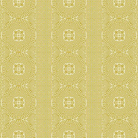 Vector repeating background in traditional greek ethnic style. Geometric line art ornament in gold and white. Design template for invitations, cards, menu, wallpaper. For printing on textiles, bedding 일러스트