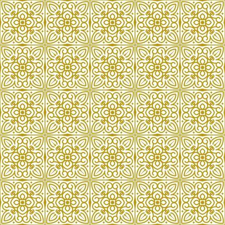Vector naadloze herhalende achtergrond in traditionele oosterse etnische stijl. Geometrische bloemen lijn kunst luxe sieraad in goud, wit. Ontwerpsjabloon voor begroeting, verjaardag, kaart, bruiloft, menu, beddengoed