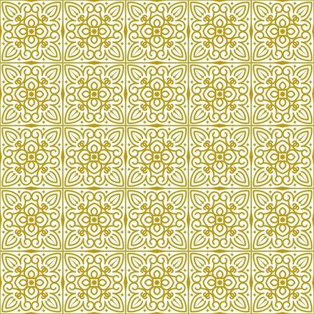 Vector seamless repeating background in traditional oriental ethnic style. Geometric floral line art luxury ornament in gold, white. Design template for greeting, birthday,card, wedding, menu, bedding