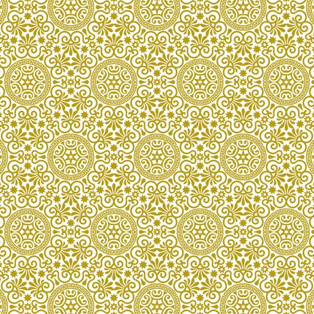 Vector seamless endless background in traditional greek ethnic style. Geometric floral line art luxury ornament in gold and white. Design template for greeting, birthday,card, wedding, menu, wallpaper