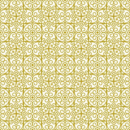 Vector seamless background in traditional oriental ethnic style. Geometric floral line art luxury ornament in gold and white. Design template for greeting, birthday, card, wedding, menu, wallpaper