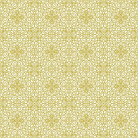 Vector seamless background in traditional eastern ethnic style. Geometric floral line art luxury ornament in gold, white. Design template for greeting, birthday, card, wedding, menu, print on bedding