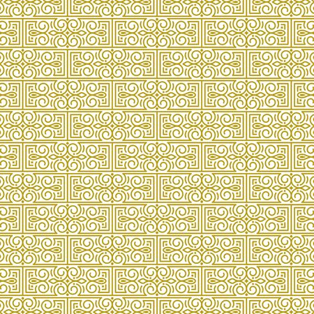 Vector repeating background in traditional oriental ethnic style. Geometric floral line art luxury ornament in gold, white. Design template for greeting, birthday,card, wedding, menu, print on bedding 일러스트