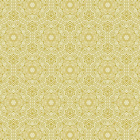 Vector luxury tiled seamless pattern in traditional greek style. Gold repeating ornament on a white background. Line art elegant design for wallpapers, wedding, greetings, cards, invitations, menu