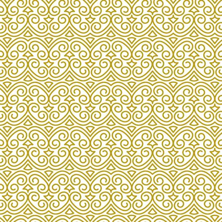 Vector seamless background in traditional oriental ethnic style. Geometric floral contour luxury ornament in gold, white. Design template for greeting, birthday, card, wedding, menu, print on bedding