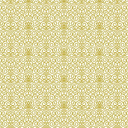 Vector seamless pattern in traditional oriental ethnic style. Geometric floral line art luxury ornament in gold and white. Design template for greeting, birthday, card, wedding, menu, print on bedding