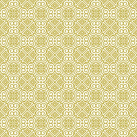 Vector seamless background in traditional oriental ethnic style. Geometric floral line art luxury golden ornament. Design template for greeting, birthday, card, wedding, menu, print on bedding