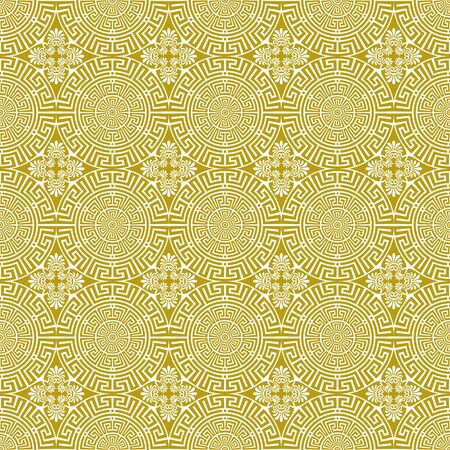 Vector seamless floral greek gold pattern on a white background. Traditional greek ethnic style. Antique geometric line art ornament. Design template for greeting, birthday, card, wedding, wallpaper
