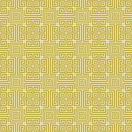 Vector seamless traditional geometric greek gold pattern on a white background. Antique ethnic style. Geometric line art tile ornament. Design template for greeting, birthday, card, wedding, wallpaper