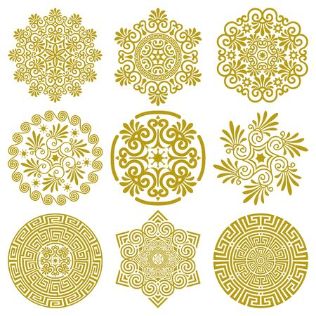 Vector set of design elements in traditional and modern Greek style isolated on a white background. Line art ornaments with floral, geometric pattern. For decorating plates, printing on paper, textile