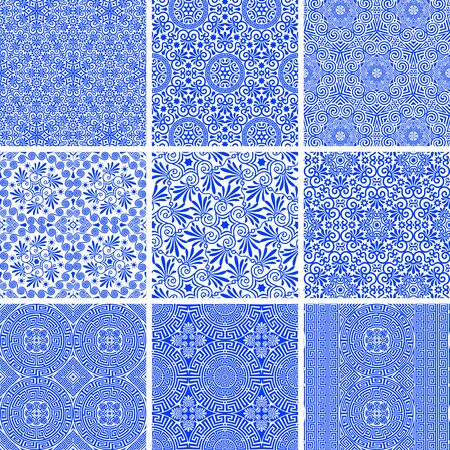 Vector set of seamless traditional and modern greek blue patterns on a white background. Repeat line art floral and geometric elegant ornaments. Fashion design for print on fabric, paper, wallpaper
