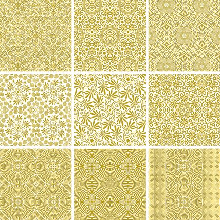 Vector set of seamless traditional and modern greek golden patterns on a white background. Repeat line art floral and geometric elegant ornaments. Fashion design for print on fabric, paper, wallpaper 일러스트